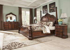 Ledelle Queen Poster Bed, Dresser, Mirror & Chest,Millennium