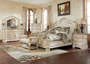 Ortanique King Sleigh Bed, Dresser, Mirror, Chest & Night Stand