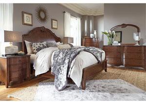 Balinder Medium Brown Queen Sleigh Bed w/ Dresser and Mirror