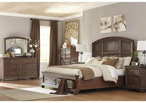 Maeleen Queen Storage Bed w/ Dresser and Mirror