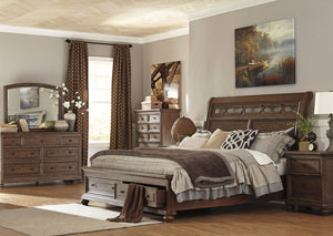 Maeleen King Storage Bed w/ Dresser and Mirror