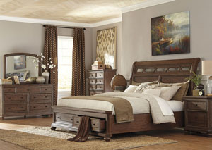 Maeleen Queen Storage Bed w/ Dresser, Mirror, Drawer Chest and Nightstand,Signature Design by Ashley