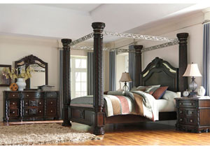 Laddenfield King Poster Bed, Dresser, Mirror, Chest & Night Stand