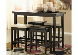 Kimonte Rectangular Counter Height Table w/ 2 Ivory & 2 Dark Brown Barstools,Signature Design by Ashley
