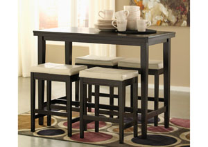 Kimonte Rectangular Counter Height Table w/ 4 Ivory Barstools,Signature Design by Ashley