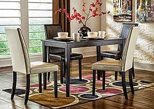 Kimonte Rectangular Dining Table w/ 2 Dark Brown Chairs & 2 Ivory Chairs,Signature Design by Ashley