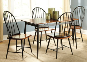 Shanilee Rectangular Dining Table w/ 4 Black Side Chairs