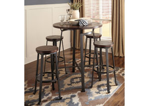 Challiman Rustic Brown Round Dining Room Bar Table w/ 4 Tall Stools,Signature Design by Ashley