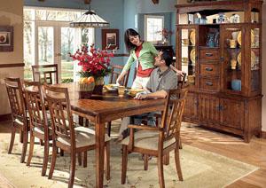 Cross Island Rectangular Table w/ 4 Side Chairs & 2 Arm Chairs