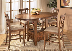 Cross Island Counter Height Extention Table Dining Set W/ 4 Stools