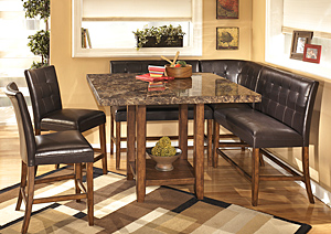 Lacey Square Counter Table w/ 2 Stools, 2 Double Stools and Corner Stool