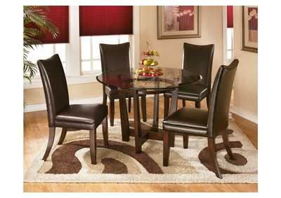 Charell Round Dining Table w/ 4 Brown Side Chairs