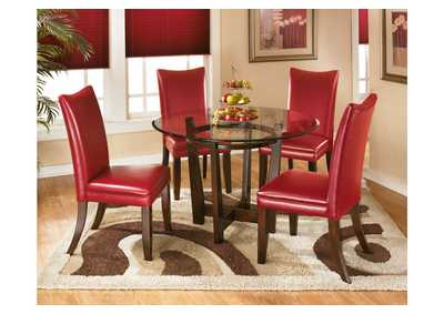 Charell Round Dining Table w/ 4 Red Side Chairs,Signature Design by Ashley