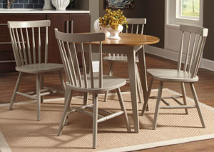 Bantilly Light Gray Round Dining Room Table w/ 4 Gray Side Chairs