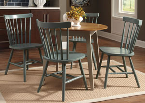 Bantilly Light Gray Round Dining Room Table w/ 4 Blue Side Chairs