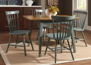 Bantilly Rectangular Drop Leaf Table w/ 4 Blue Side Chairs