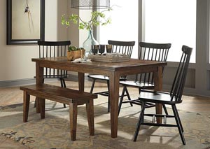 Molanna Rectangular Dining Table w/ 4 Side Chairs & Bench