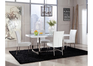 Baraga Rectangular Table & 4 White Side Chairs