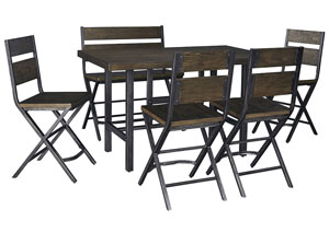 Kavara Medium Brown Rectangular Dining Room Counter Table w/ 4 Side Chairs and Double Barstool,Signature Design by Ashley