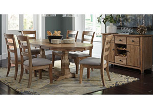 Danimore Light Brown Oval Extension Table w/ 6 Upholstered Side Chairs & Dining Room Server,Signature Design by Ashley