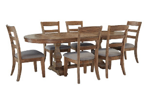 Danimore Light Brown Oval Extension Table w/ 6 Upholstered Side Chairs,Signature Design by Ashley