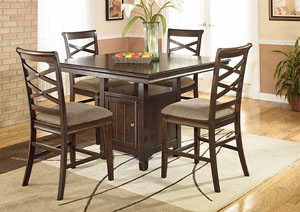 Hayley Square Pub Dining Set W/ 4 Stools