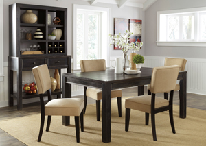 Gavelston Rectangular Dining Table w/ 4 Beige Side Chairs