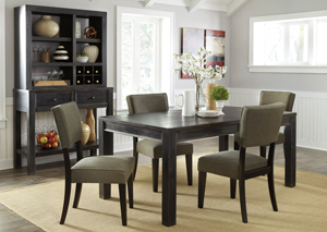 Gavelston Rectangular Dining Table w/ 4 Green Side Chairs, Server & Hutch,Signature Design by Ashley