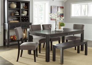 Gavelston Rectangular Dining Table w/ Bench & 4 Gray Side Chairs