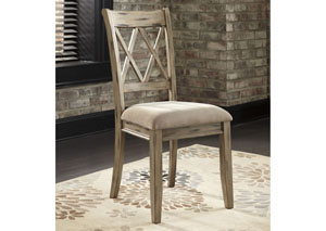 Mestler Antique White Upholstered Side Chair (Set of 2),Signature Design by Ashley