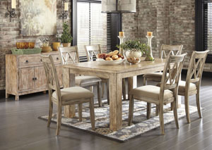 Mestler Washed Brown Rectangular Dining Table w/ 6 Antique White Upholstered Side Chairs