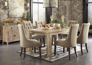 Mestler Washed Brown Rectangular Dining Table w/ 4 Light Brown Upholstered Side Chairs