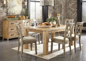 Mestler Medium Brown Rectangular Dining Table w/ 4 Antique White Upholstered Side Chairs
