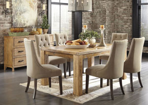 Mestler Medium Brown Rectangular Dining Table w/ 4 Light Brown Upholstered Side Chairs