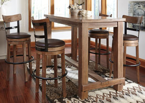 Pinnadel Bar Table w/ 4 Tall Upholstered Swivel Stools,Signature Design by Ashley
