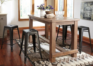 Pinnadel Rectangular Counter Table w/ 4 Gray Stools,Signature Design by Ashley