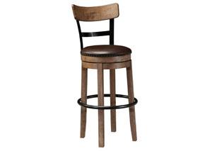 Pinnadel Light Brown Tall Upholstered Swivel Barstool