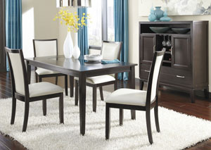Trishelle Rectangular Dining Table w/ 4 Cream Upholstered Side Chairs