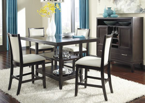 Trishelle Rectangular Counter Table w/ 4 Cream Upholstered Barstools