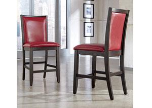 Trishelle Red Upholstered Barstool (Set of 2)