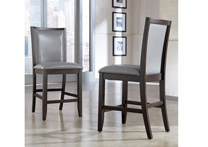 Trishelle Gray Upholstered Barstool (Set of 2)