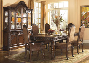 North Shore Extension Table w/ 4 Upholstered Side Chairs, 2 Arm Chairs, Buffet & China,Millennium