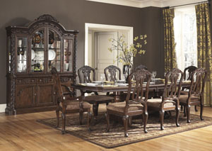 North Shore Rectangular Pedestal Table w/ 4 Side Chairs, 2 Arm Chairs, Buffet & China,Millennium