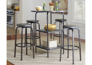 Hattney Round Bar Table w/ 4 Tall Swivel Barstools