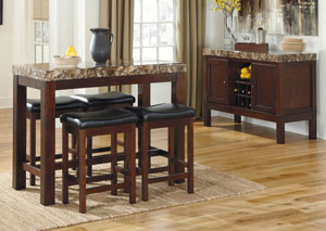 Kraleene Rectangular Counter Table w/ 4 Stools