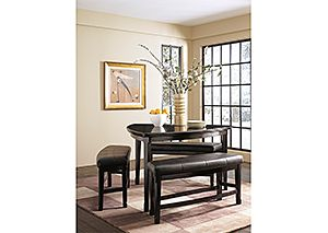 Emory Triangle Counter Table & 3 Double Stools