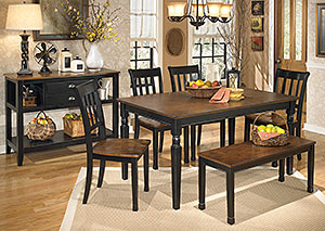Owingsville Rectangular Dining Table w/ 4 Side Chairs & Bench,Signature Design by Ashley