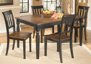 Owingsville Rectangular Dining Table w/ 4 Side Chairs,Signature Design by Ashley