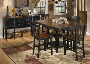 Owingsville Square Counter Extension Table w/ 4 Barstools,Signature Design by Ashley