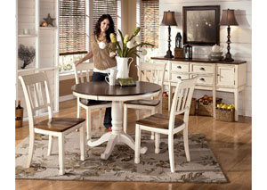 Whitesburg Round Table & 4 Side Chairs,Signature Design by Ashley